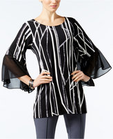 Alfani Printed Flare-Sleeve Top, Only at Macy's