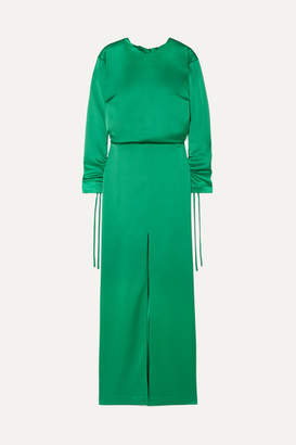 Cédric Charlier Open-back Ruched Satin Gown - Emerald