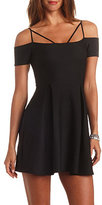 Charlotte Russe Geo-Quilted Strappy Off-the-Shoulder Skater Dress