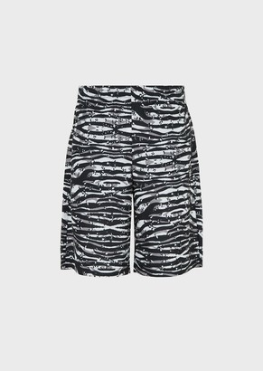 Ea7 Oversized Camouflage Bermuda Jersey Fleece Shorts