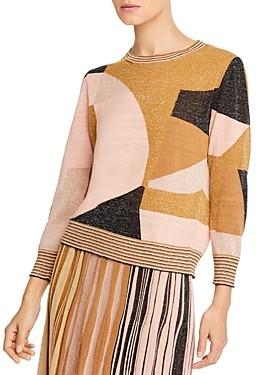 Marella Razza Color-Blocked Metallic Sweater