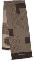 Versace Paneled Multi-Pattern Wool Scarf
