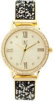 INC International Concepts Women's Gold-Tone and Hematite Crystal Stone Glitter Bracelet Watch 34mm, Only at Macy's