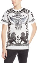 Southpole Men's Foil and Screen Print Graphic Tee with Winged Lion Patterns