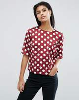 Asos Satin Tee In Polka Dot