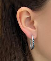 Sevil 925 Women's Earrings - Onyx & Sterling Silver Geometric Hoop Earrings