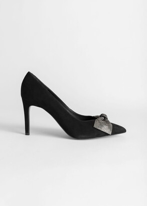 And other stories Suede Glitter Bow Heeled Pumps