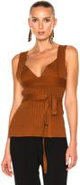 Victoria Beckham Irregular Knit Top w/Bra and Bow Detail in Brown,Orange.