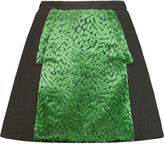 DELPOZO Devor&eacute velvet and wool-blend crepe mini skirt