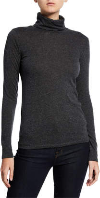 Majestic Filatures Cotton/Cashmere Long-Sleeve Turtleneck Tee