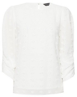 Dorothy Perkins Womens Ivory Flocked Spotted 3/4 Sleeve Top, Ivory