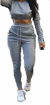Mixlot Ladies Co ord Crop Top Bottoms Set Womens 2pcs Loungewear Suit Tracksuit 8-22 (Silver M/L 12-14)