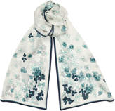 Jimmy Choo LIDA Navy and Pavone Silk Stole