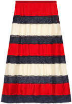 Gucci Silk twill and lace skirt - women - Silk - 42