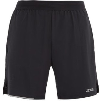 2XU Xvent Reflective-logo Double-layer Shorts - Black Silver