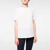 Paul Smith Women's White Silk-Crêpe Top With Ruched Collar
