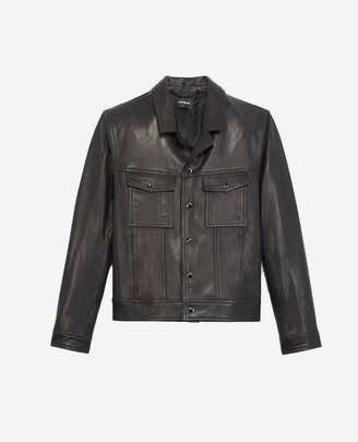 The Kooples Buttoned black leather jacket, notched collar