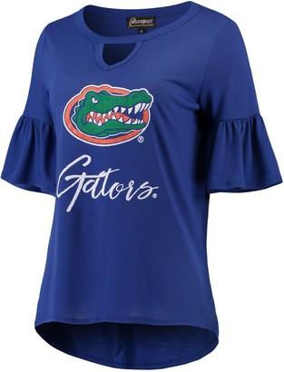 Unbranded Women's Royal Florida Gators Ruffle And Ready Keyhole Tri-Blend 3/4-Sleeve T-Shirt