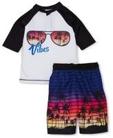 Wonder Nation Boys Short Sleeve Rash Guard Swim Shirt and Shorts, 2-Piece Set, Sizes 4-18, UPF 20+
