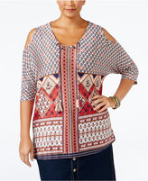 Style&Co. Style & Co Plus Size Printed Cold-Shoulder Peasant Top, Only at Macy's