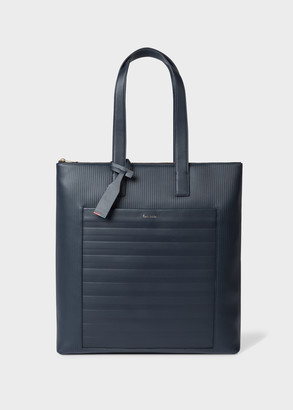 Paul Smith Navy Striped Emboss Leather Tote Bag
