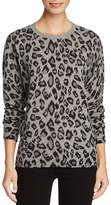 C by Bloomingdale's Cashmere Leopard Print Crewneck Sweater - 100% Exclusive