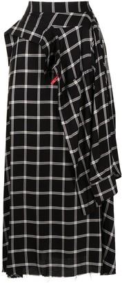 Maison Mihara Yasuhiro Check Wrap-Style Maxi Skirt