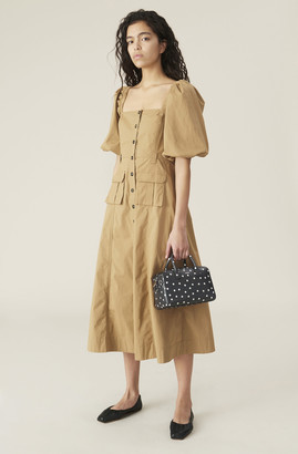 Ganni Ripstop Cotton Chino Puff Sleeve Dress
