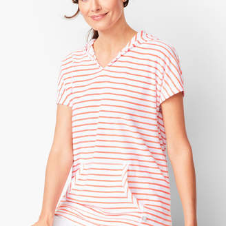 Talbots Stripe Loop-Terry Hooded Tunic