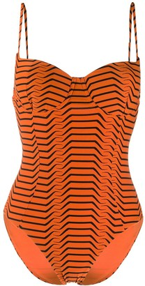 Dvf Diane Von Furstenberg Optical-Print Swimsuit