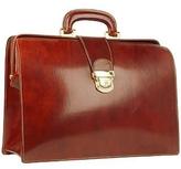 Forzieri Cognac Italian Leather Buckled Medium Doctor Bag