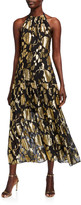 Milly Metallic Floral Chiffon Tiered Halter Dress