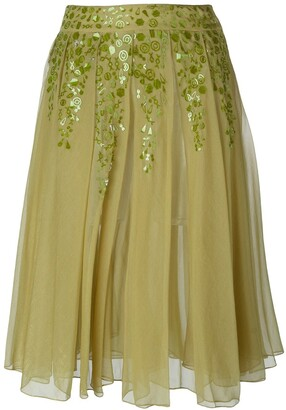 Romeo Gigli Pre-Owned Embellished Pleated Skirt