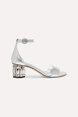 Salvatore Ferragamo Azalea Metallic Leather Sandals - Silver