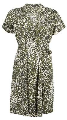 Dorothy Perkins Womens Green Camouflage Short Sleeve Shirt Dress