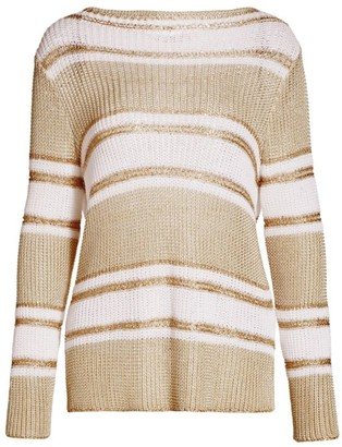 Piazza Sempione Striped Linen-Blend Knit Sweater