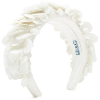 Prada Sequinned Satin Headband - White