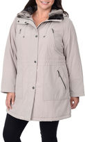 FLEETSTREET COLLECTION Fleet Street Faux-Silk Anorak with Faux-Fur Trim Collar - Plus