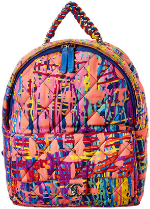 Chanel Multicolor Quilted Fabric Foulard Backpack