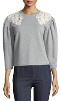 Rebecca Taylor Crewneck Pouf-Sleeve Cotton Sweatshirt w/ Lace