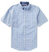 Roundtree & Yorke TravelSmart Big & Tall Short-Sleeve Tonal Plaid Sportshirt