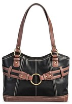 Bolo Women's Faux Leather Tote Handbag with Back/Interior Compartments with Top Zipper Button Closure - Black/Walnut