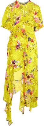 Preen by Thornton Bregazzi Nickesha Asymmetric Floral-print Burnout Silk-blend Dress