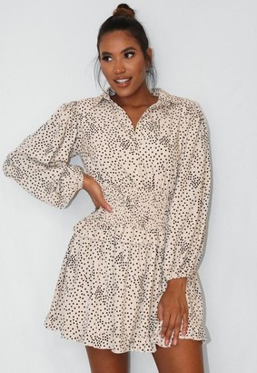 Missguided Cream Polka Dot Shirred Waist Shirt Dress
