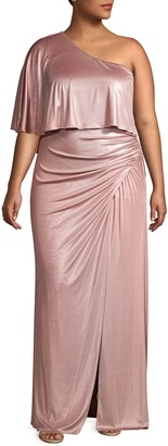 Adrianna Papell Plus One-Shoulder Long Gown