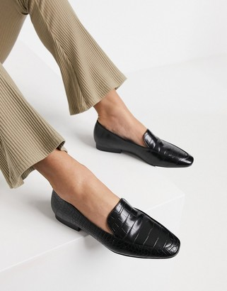 ASOS DESIGN Mindy flat loafers in black croc