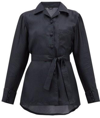 Giuliva Heritage Collection The Giulietta Polka-dot Silk Shirt - Womens - Navy Multi