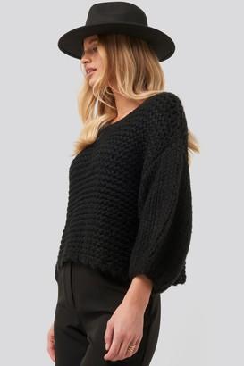 NA-KD Heavy Knitted Short Sleeve Sweater Black
