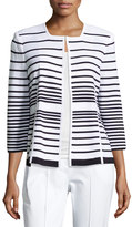 Misook Striped Crewneck Jacket, White/Blue
