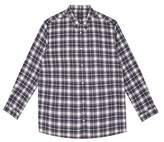 Burton Mens Navy Long Sleeve Ecru Check Shirt